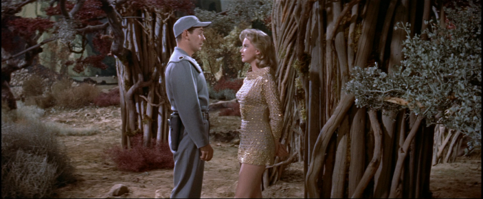 Anne Francis stars as Altaira daughter of Morbius in the sci-fi movie Forbidden Planet