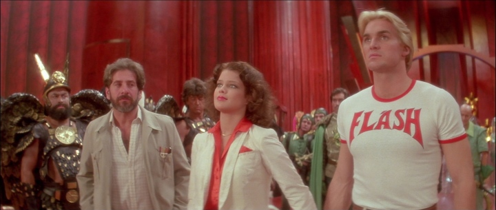 Brian Blessed, Chaim Topol, Melody Anderson and Sam J. Jones in the cult sci-fi film Flash Gordon