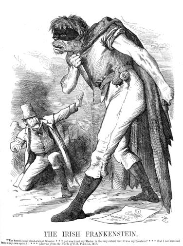 Punch, typical anti-Irish image of the 1800s - English Ireland's Irish Nightmare