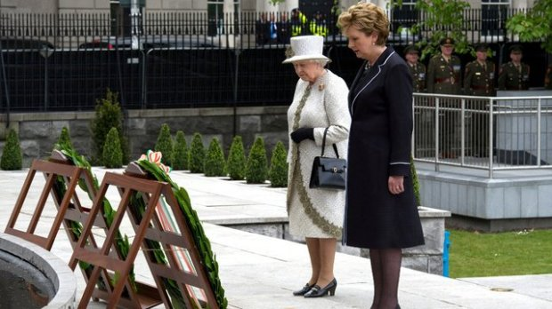 Queen Elizabeth II, the British head of state, honours Ireland's Irish Republican dead, the Garden of Remembrance, Dublin, 2011