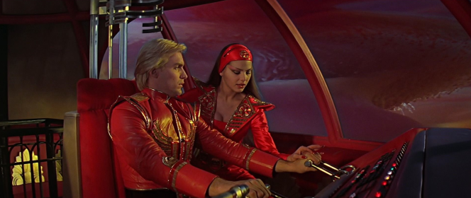 Sam J. Jones as Flash and Ornella Muti as Princess Aura in the gorgeously-imagined movie Flash Gordon