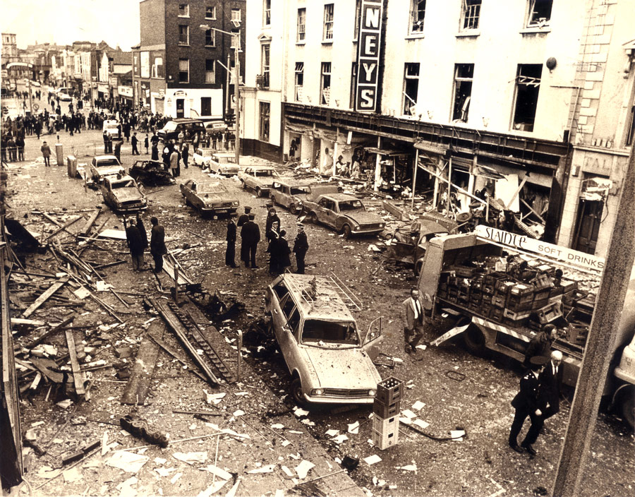 Talbot Street, Dublin, in the aftermath of the British terrorist bombings that killed dozens and injured hundreds, Ireland, 1974