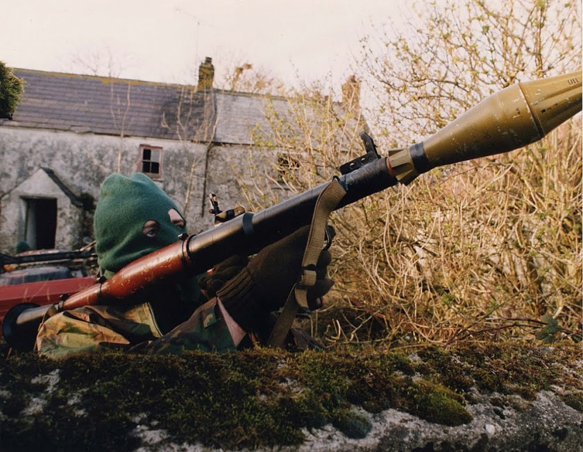 A Volunteer of the Irish Republican Army with an RPG-7 rocket-launcher