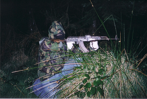 Volunteer of the Real Irish Republican Army armed with an AKM assault rifle