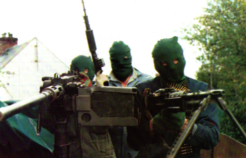 An Active Service Unit (ASU) of the Irish Republican Army armed with vehicle-mounted heavy and general-purpose machine guns, British Occupied North of Ireland, c.1980s