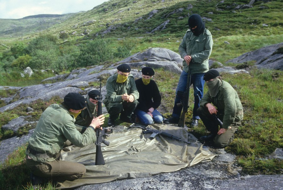 An Active Service Unit (ASU) of the Irish Republican Army receiving arms training at a mountain camp in Co. Donegal, Ireland, c.1980s