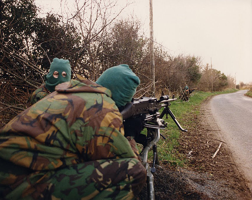 An Active Service Unit of the Irish Republican Army sets up a vehicle-checkpoint, British Occupied North of Ireland, 1994
