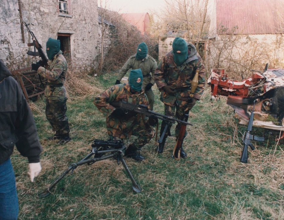 Volunteers of an Active Service Unit (ASU) of the Irish Republican Army preparing for a foot-patrol, British Occupied North of Ireland, 1994