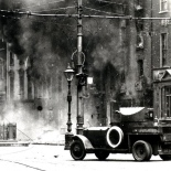 A British-supplied armoured car of the Irish National Army (Free State Army) on O'Connell Street, the Battle of Dublin, 1922
