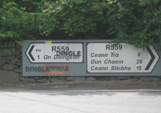 A road sign for An Daingean is defaced to Dingle. Another symbol of the colonised mentality of some Anglophone supremacists in modern Ireland