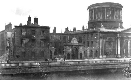 The buildings of the Four Courts devastated by the British-supplied artillery used by the Irish National Army (Free State Army), the Battle of Dublin, 1922