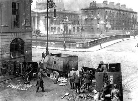 The Irish National Army (Free State Army) bombards the Four Courts using British-supplied artillery and ammunition, the Battle of Dublin, 1922