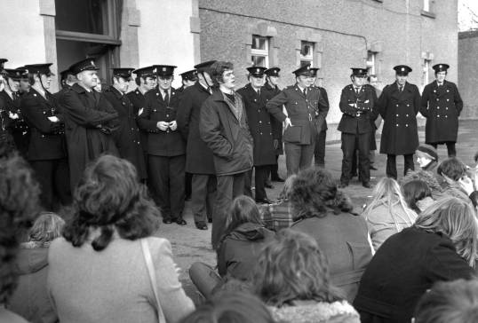 Gardaí confront protesting students led by Éamon Gilmore, a member of the UCG Republican Party, a grouping linked to Official Sinn Féin, the political wing of the Official IRA, 1974