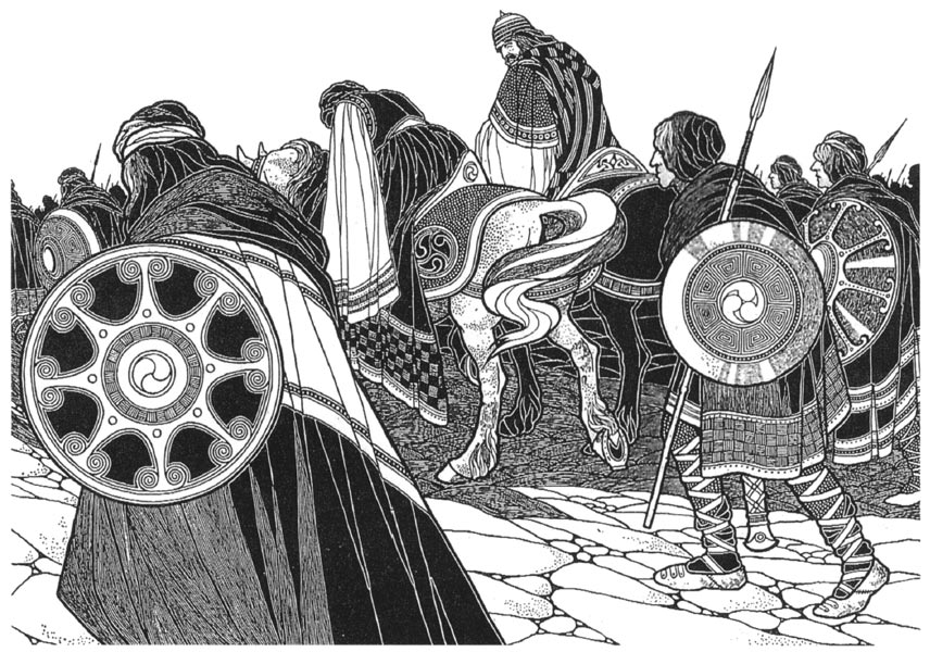 Maev's second meeting with Fergus, illustration by Seaghán Mac Cathmhaoil from The Táin by Mary Hutton, 1924