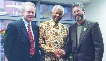 Sinn Féin and the African National Congress - Martin McGuinness, Nelson Mandela and Gerry Adams meet in a very public display of the close alliance between the revolutionary movements in Ireland and South Africa