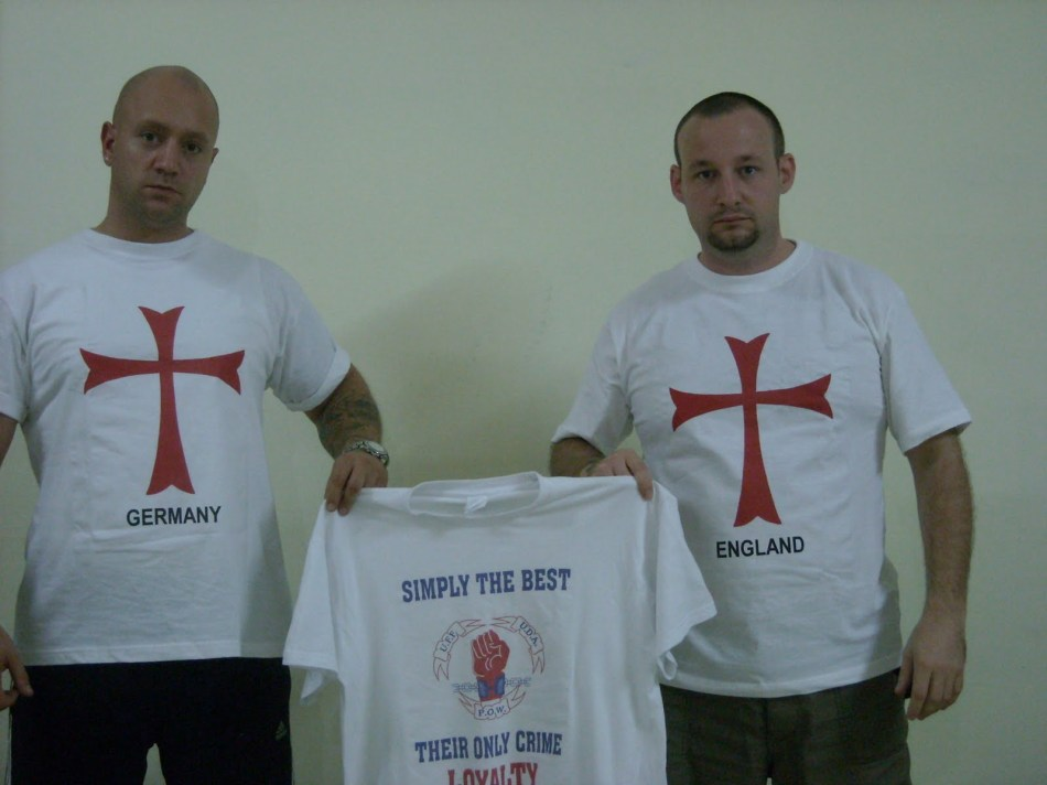During a Far Right gathering British and German Neo-Nazis show their support for the UDA-UFF, the largest British state-sponsored terrorist group in Ireland, 2009