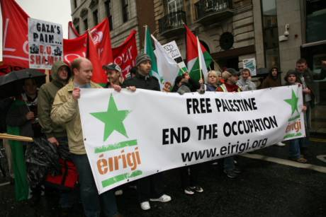 "Members of éirigí at a rally in Dublin, attended by the future President of Ireland Michael D. Higgins, to protest the ""bad"" occupation in Palestine... ahem..."