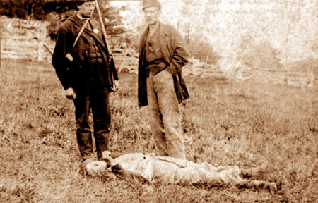 The Battle of Eccles Hill - a soldier of the Irish Republican Army, the military wing of the Fenian Brotherhood (FB), lies dead on the battlefield during the 1870