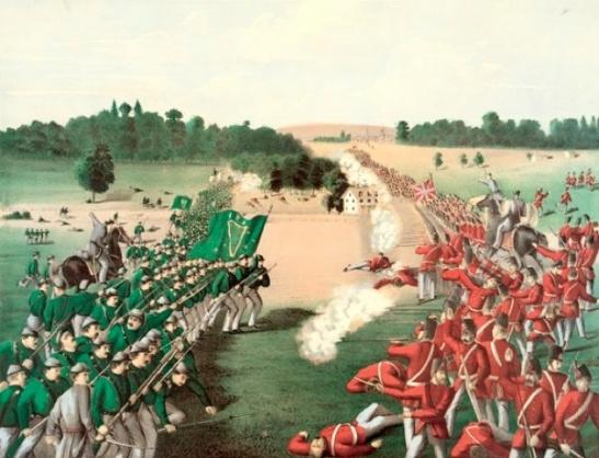 The Battle of Ridgeway - the Irish Republican Army, the military wing of the Fenian Brotherhood (FB), invades Canada in 1866 to establish an Irish Republic In-Exile