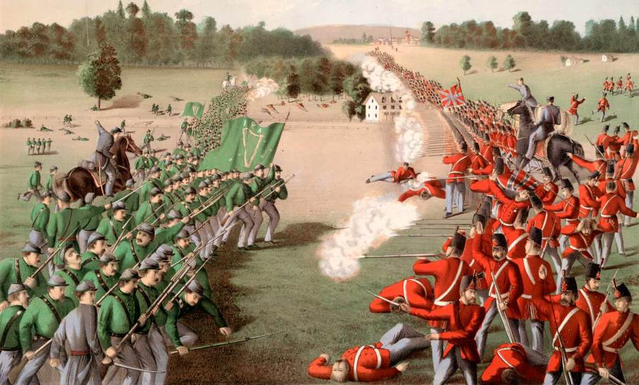 The Irish Republican Army, military wing of the Fenian Brotherhood, charges the British line, the Battle of Ridgeway, Canada, 2nd June 1866