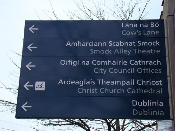 Bilingual sign in Irish and English, Dublin, Ireland.