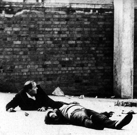 The Bloody Sunday Massacre. The dead and the wounded lie on the streets of the Irish city of Derry following a British Army attack on a civil rights march, January 30th 1972
