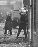 British Paramilitary Police Throwing Petrol Bombs At Civil Rights Protesters, North Of Ireland, 1960s