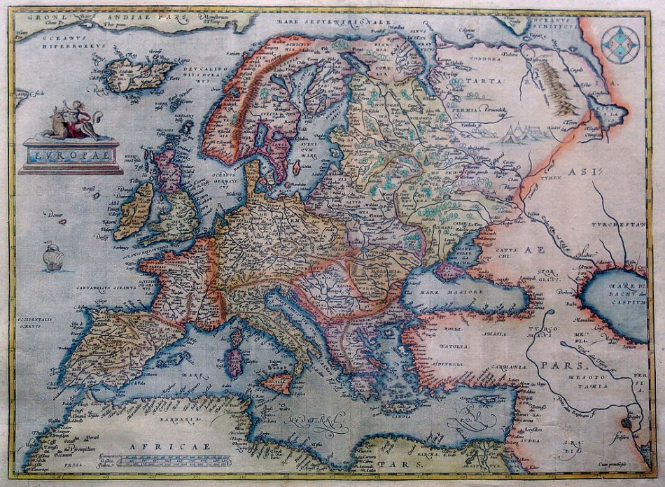 An old map of Europe by the Antwerp cartographer Abraham Ortelius, dated to 1595