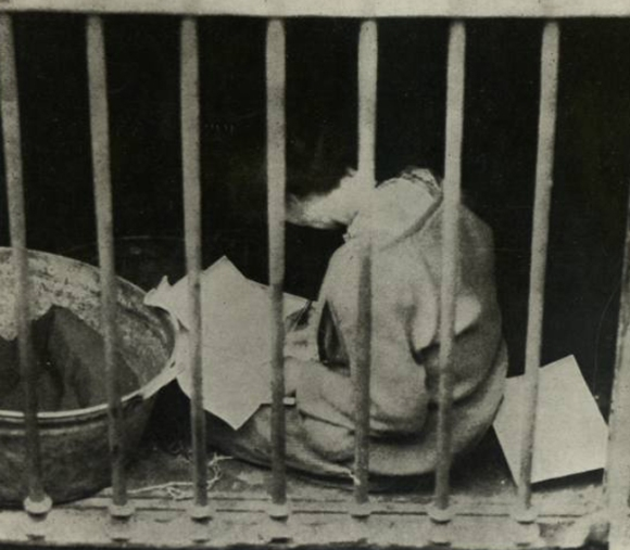 Countess Markievicz, an officer of the ICA-component of the Irish Republican Army and one of the leaders of the Easter Rising of 1916, being held in an outside cell by the British Forces following her capture