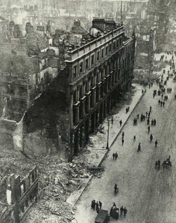 Buildings in Dublin city, capital of the island-nation of Ireland, destroyed during the fighting surrounding the Easter Rising of 1916, principally by British artillery and machine-gun fire