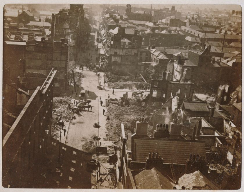 Aftermath of the Easter Rising, Henry Street, looking westward from Nelson's Pillar, Dublin, Ireland, May 18 1916