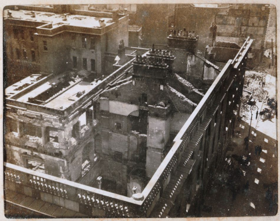 Aftermath of the Easter Rising, the General Post Office, seat of the Provisional Government, and Henry Street from Nelson's Pillar, Dublin, Ireland, May 18 1916