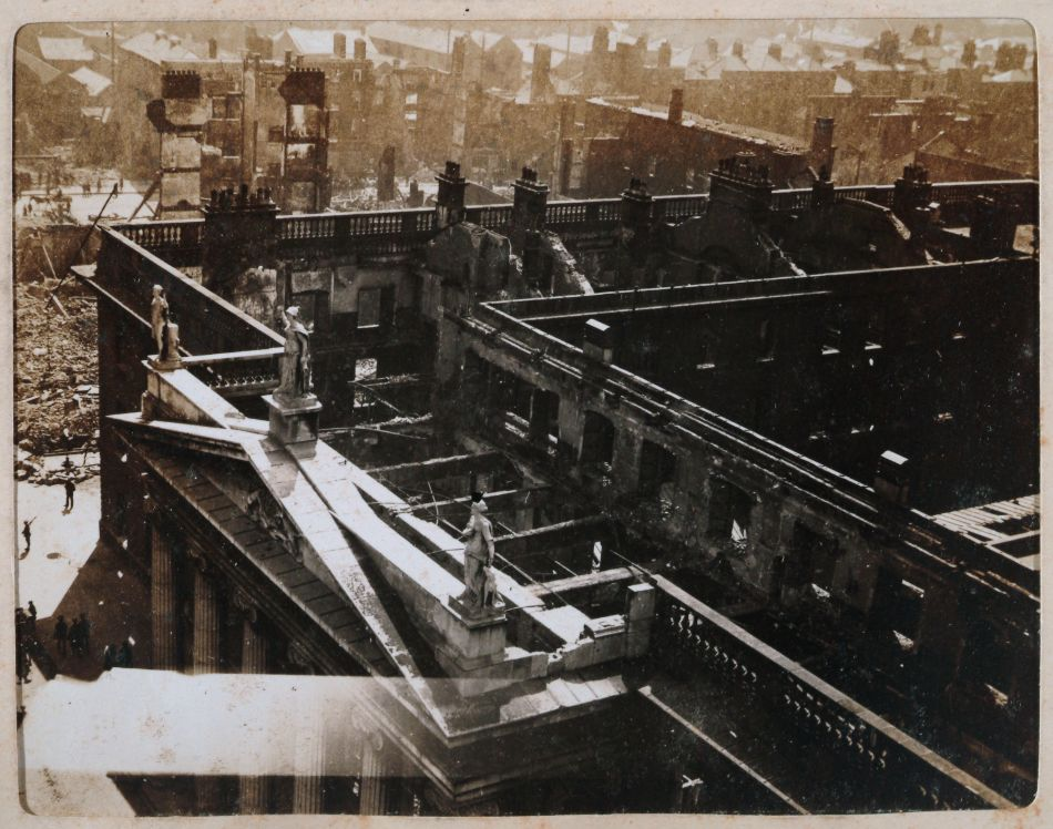 Aftermath of the Easter Rising, the General Post Office, seat of the Provisional Government, from Nelson's Pillar, Dublin, Ireland, May 18 1916