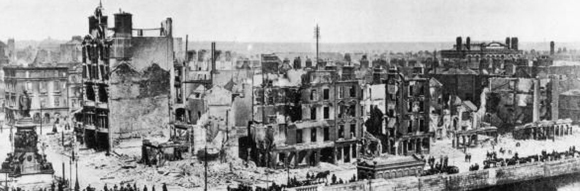 A city in ruins. A view across the battle-ravaged buildings of Dublin in the aftermath of the Easter Rising of 1916. Much of the capital's centre was destroyed by heavy bombardments from British land and sea artillery