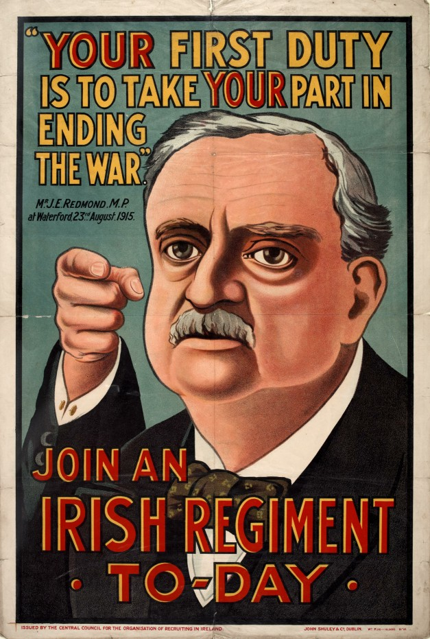 John Redmond MP features in a British Army recruitment poster calling upon Irishmen to fight and die for the British Empire, Ireland, 1914