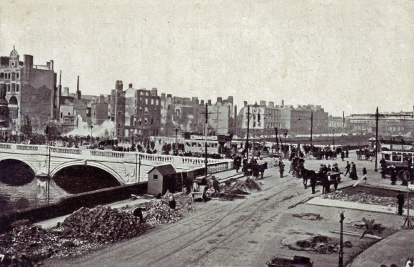 Rubble is cleared away from destroyed buildings on the quays in Dublin in the days after the Easter Rising of 1916