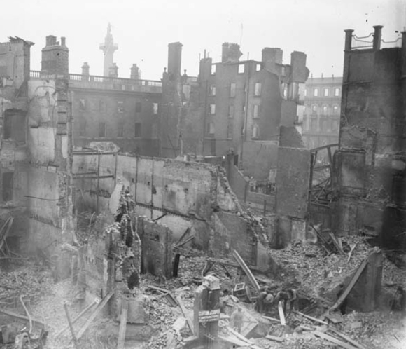 "The Irish ""Twin Towers"" - the burned-out ruins of the GPO, destroyed by artillery and machine-gun fire from the British Occupation Forces during the latter stages of the Easter Rising, Dublin, 1916"