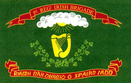 Many Irish-American units of the US Army used Fenian symbols in their banners, as here with the 69th New York Green Regimental Flag (1st model), 1861