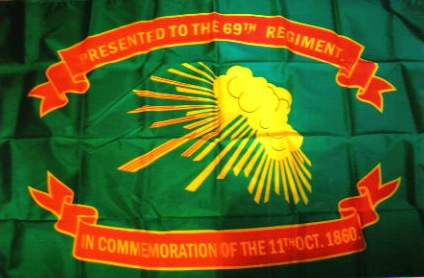 An Irish-American unit of the US Army displays its Irish and Fenian roots with a Sunburst emblem on the 69th New York State Militia Flag (the so-called Prince of Wales Flag), 1861