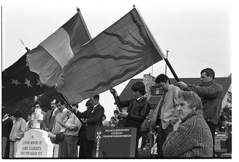 An Gal Gréine, the Irish or Fenian Sunburst flag pictured at a Sinn Féin rally in the 1980s