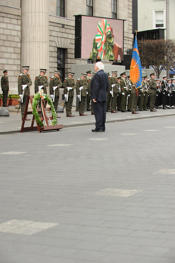 An Gal Gréine, the Irish Sunburst Banner, at the 1916 Commemoration Ceremony, the GPO, Dublin, 2016