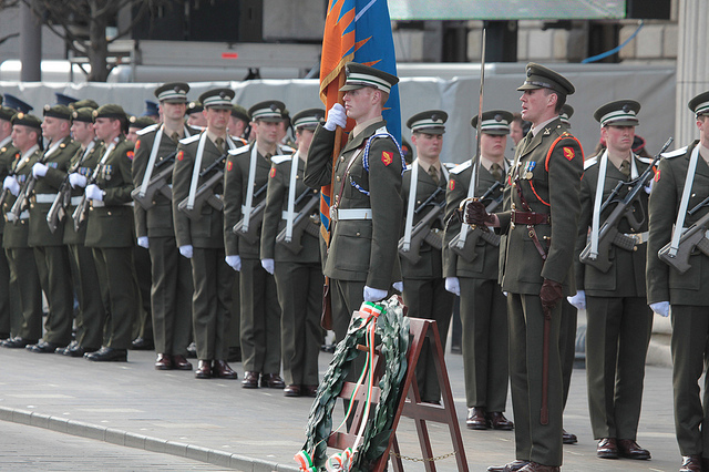 An Gal Gréine, the Irish Sunburst flag, at the 1916 Easter Rising Commemoration and Wreath Laying at the GPO, Dublin, 2010