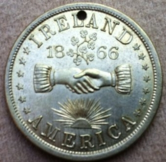 Commemorative Fenian Brotherhood Medal featuring An Gal Gréine or the Irish Sunburst symbol favoured by the Fenian movment