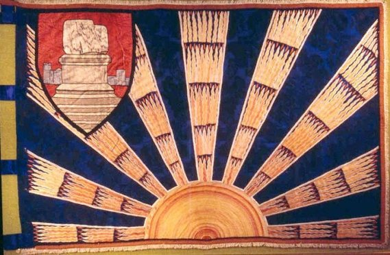 Gal Gréine or Sunburst symbolism in the flag of the Limerick City Regiment of the Irish Volunteers, 1914
