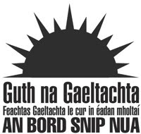 Guth na Gaeltachta, the Irish civil rights and community movement which makes use of the Irish or Fenian Sunburst symbol, Ireland, 2011
