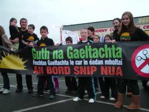 Guth na Gaeltachta, the contemporary Irish civil rights movement which uses the Irish or Fenian Sunburst as its symbol, 2011