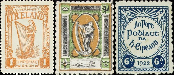 Early Irish stamps two of which feature the Irish or Fenian Sunburst motif, 1922