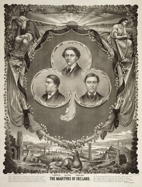 A commemorative card of the Manchester Martyrs with the Irish or Fenian Sunburst symbol featured as a rising sun above the horizon