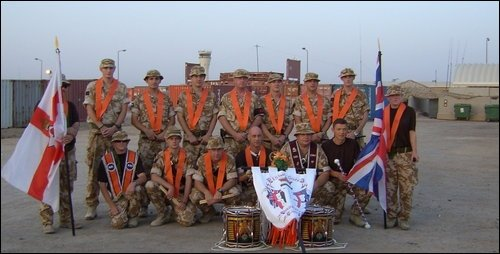 British soldiers in Afghanistan display Orange Order emblems and British Unionist flags