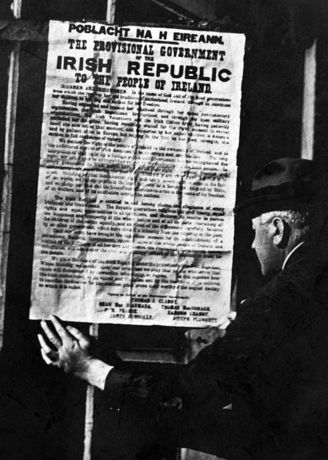 A copy of the Proclamation of the Irish Republic being read by Dr. Edward McWeeney, Dublin, Ireland, 24th April 1916